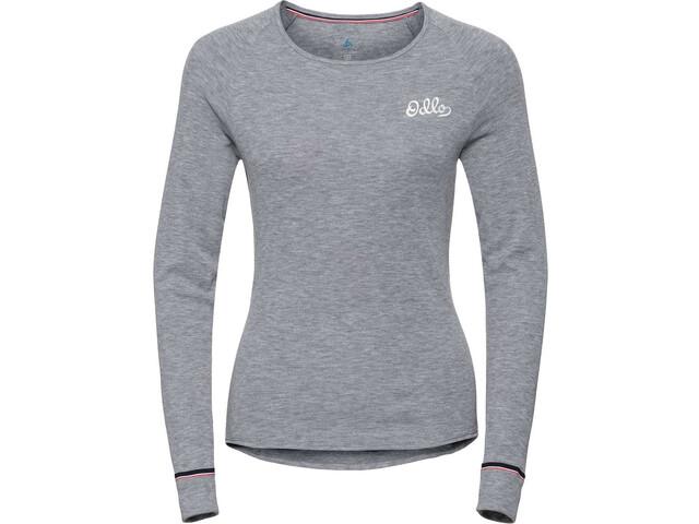 Odlo Active Originals Warm T-shirt Manches longues Col ras-du-cou Femme, grey melange